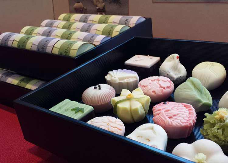 Stores displaying quality, unbaked Japanese sweets with an overwhelming variety of colors