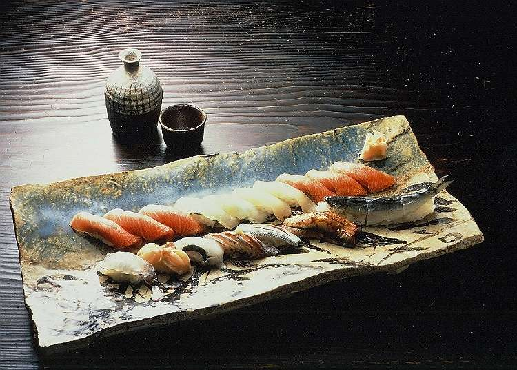 A lunch time at a luxurious sushi bar