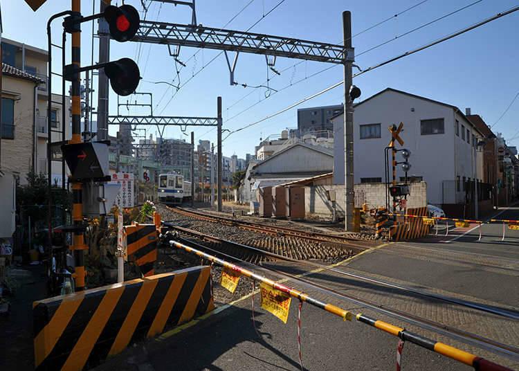 Cars must stop at train crossings