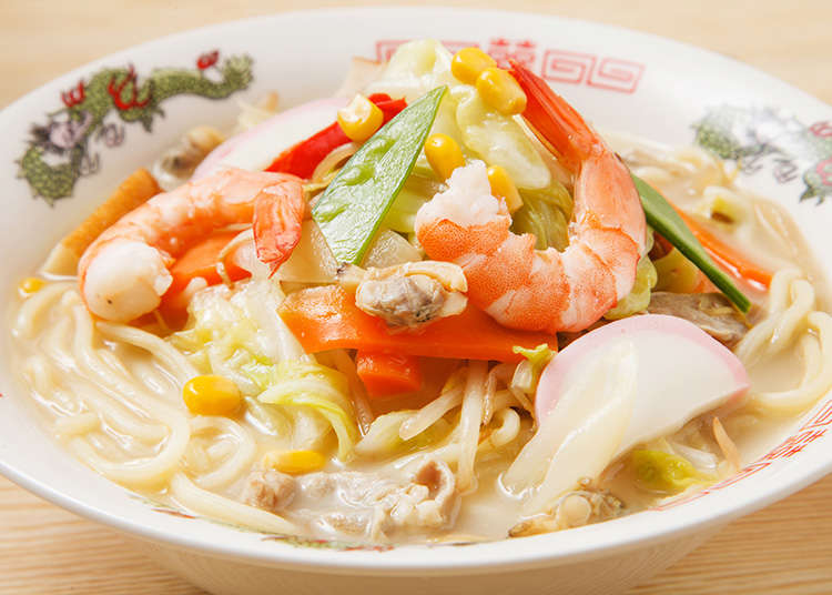 Chanpon (a dish of noodles with seafood, vegetables, etc)