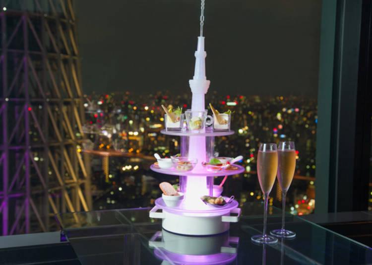 """著名菜品""""Amuse Tower""""前菜塔"""