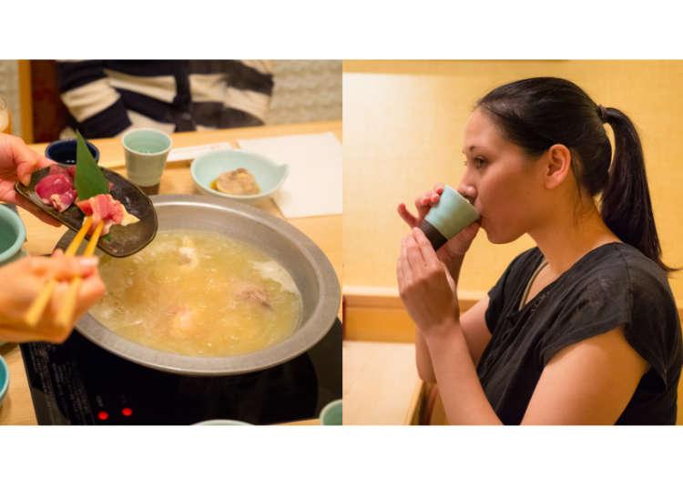 まずは鶏スープを飲む!